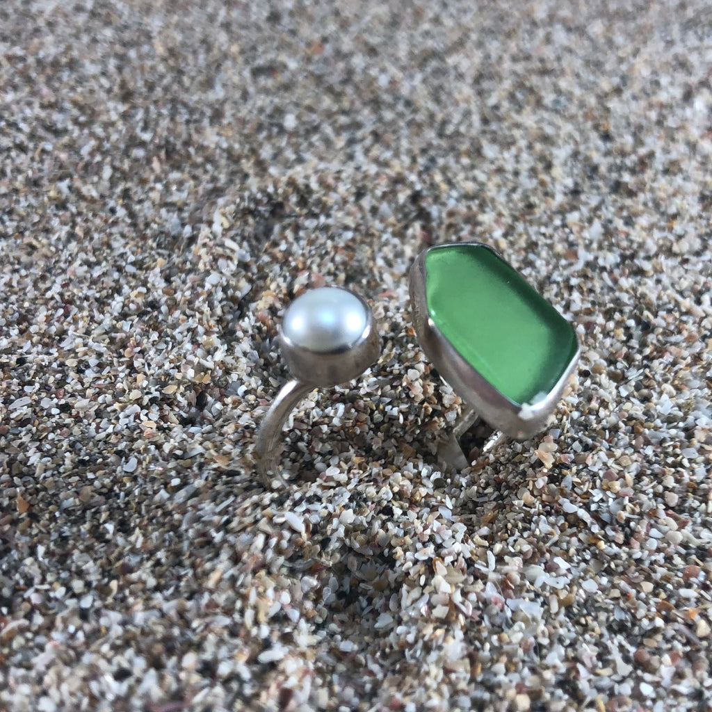 Wrap Around Ring Green Sea Glass and Pearl-Jenstones Jewelry