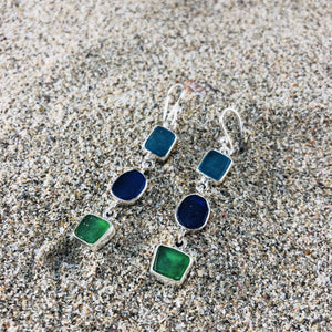 Triple Drop Earrings Sea Glass-Jenstones Jewelry