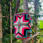 Load image into Gallery viewer, Mochila Cream/Pink/turquoise Large Design-Jenstones Jewelry