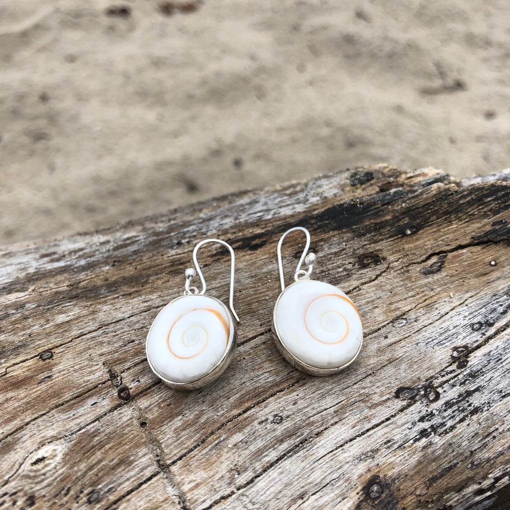 Shiva Eye Shell Earrings-Jenstones Jewelry