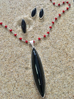 Load image into Gallery viewer, Drop Earrings Sterling and Onyx Shaft-Jenstones Jewelry