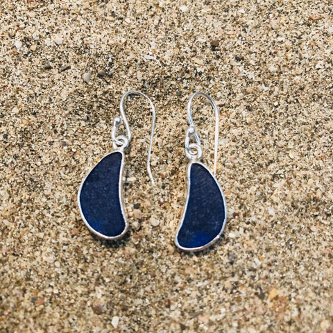 Drop Earrings Sterling and Blue Sea Glass