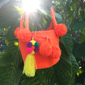 Mochila Orange Small Pom Pom-Jenstones Jewelry