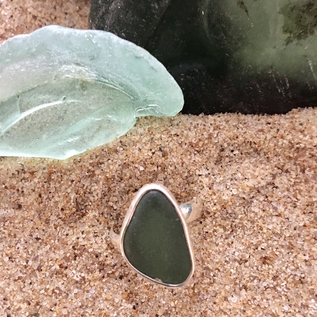 Ring Sterling and Dark Green Sea Glass