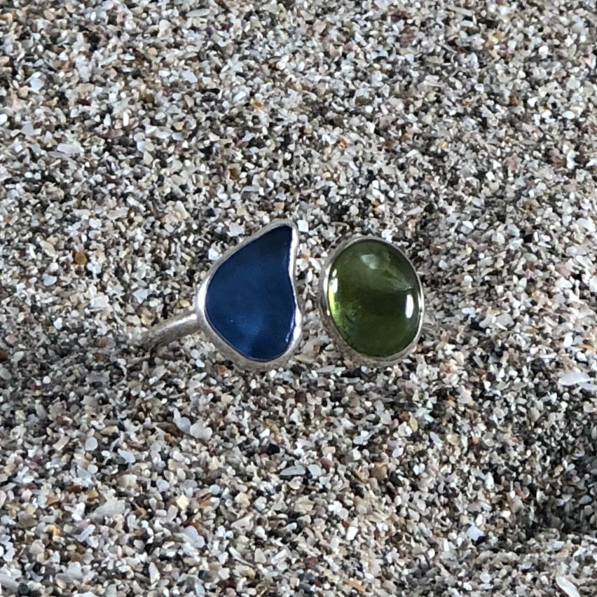 Wrap Around Ring Green Sea Glass and Peridot-Jenstones Jewelry
