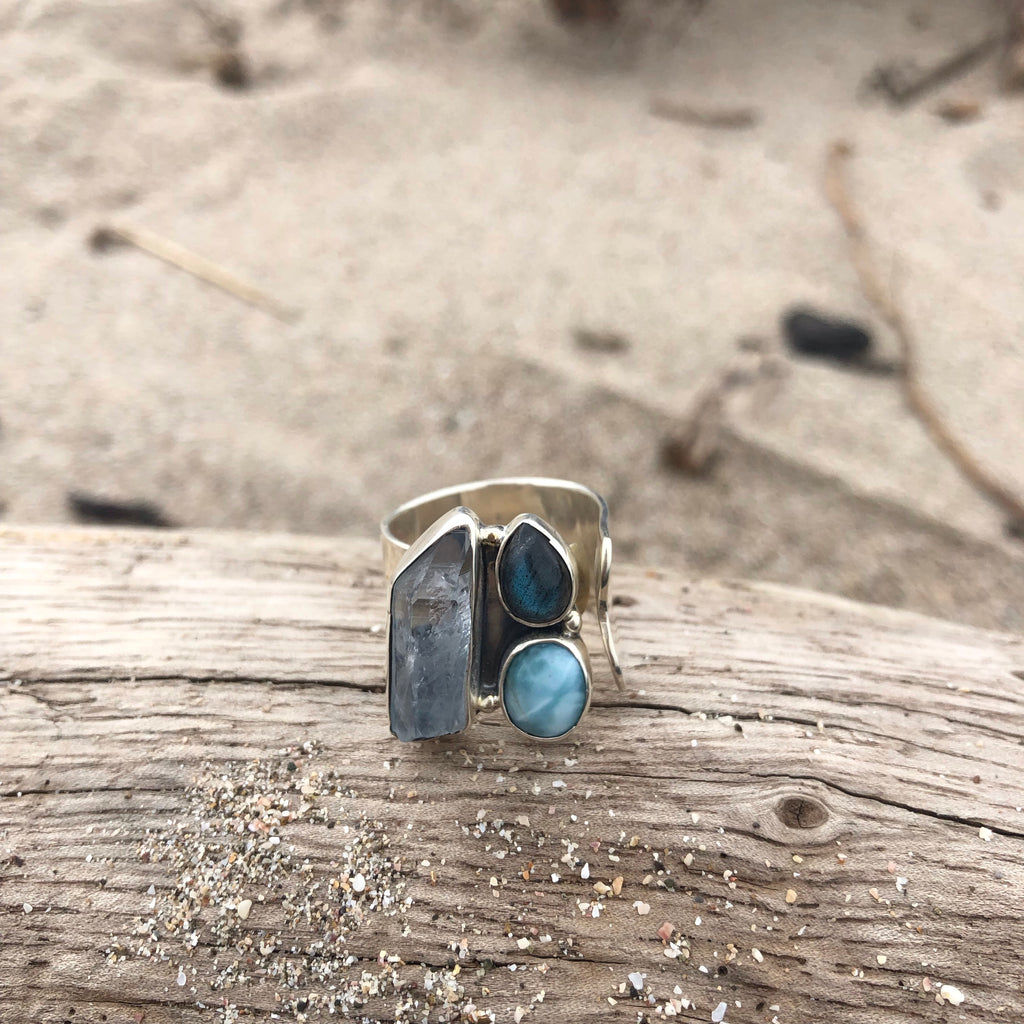 Aquamarine Crystal, Labradorite and Larimar Adjustable Silver Ring-Jenstones Jewelry