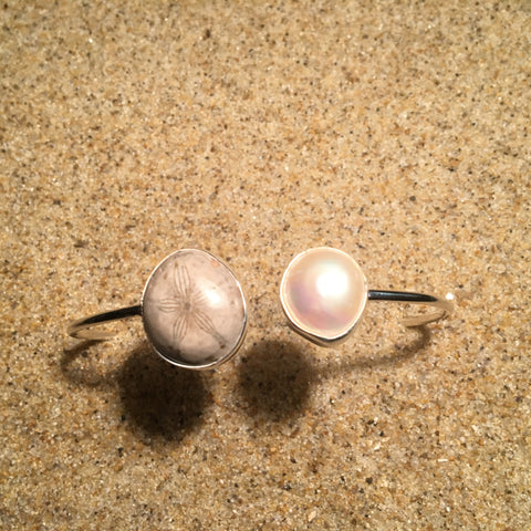 Skinny Wrap Bangle with Baroque Pearl and Fossilized Sand Dollar