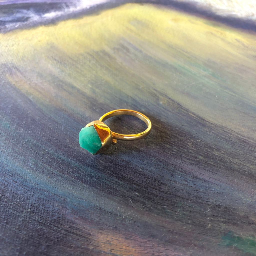 Emerald Ring, Gold Plated Bronze-Jenstones Jewelry