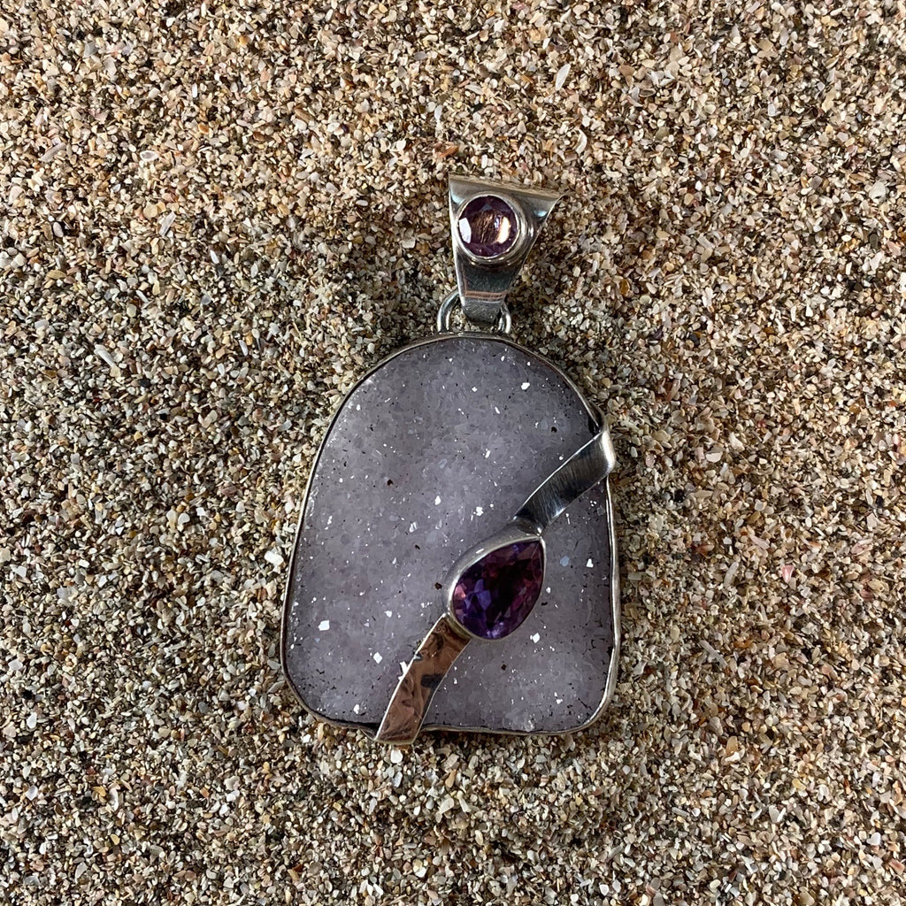 Pendant White Agate Druse with Amethyst-Jenstones Jewelry