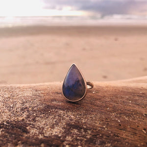 Labradorite Tear Ring-Jenstones Jewelry