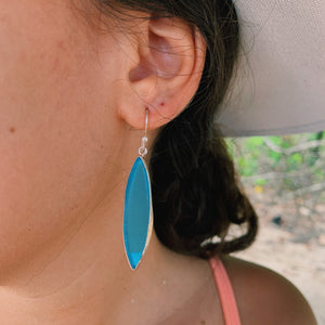 Surf Board Sea Glass Earrings Aqua-Jenstones Jewelry
