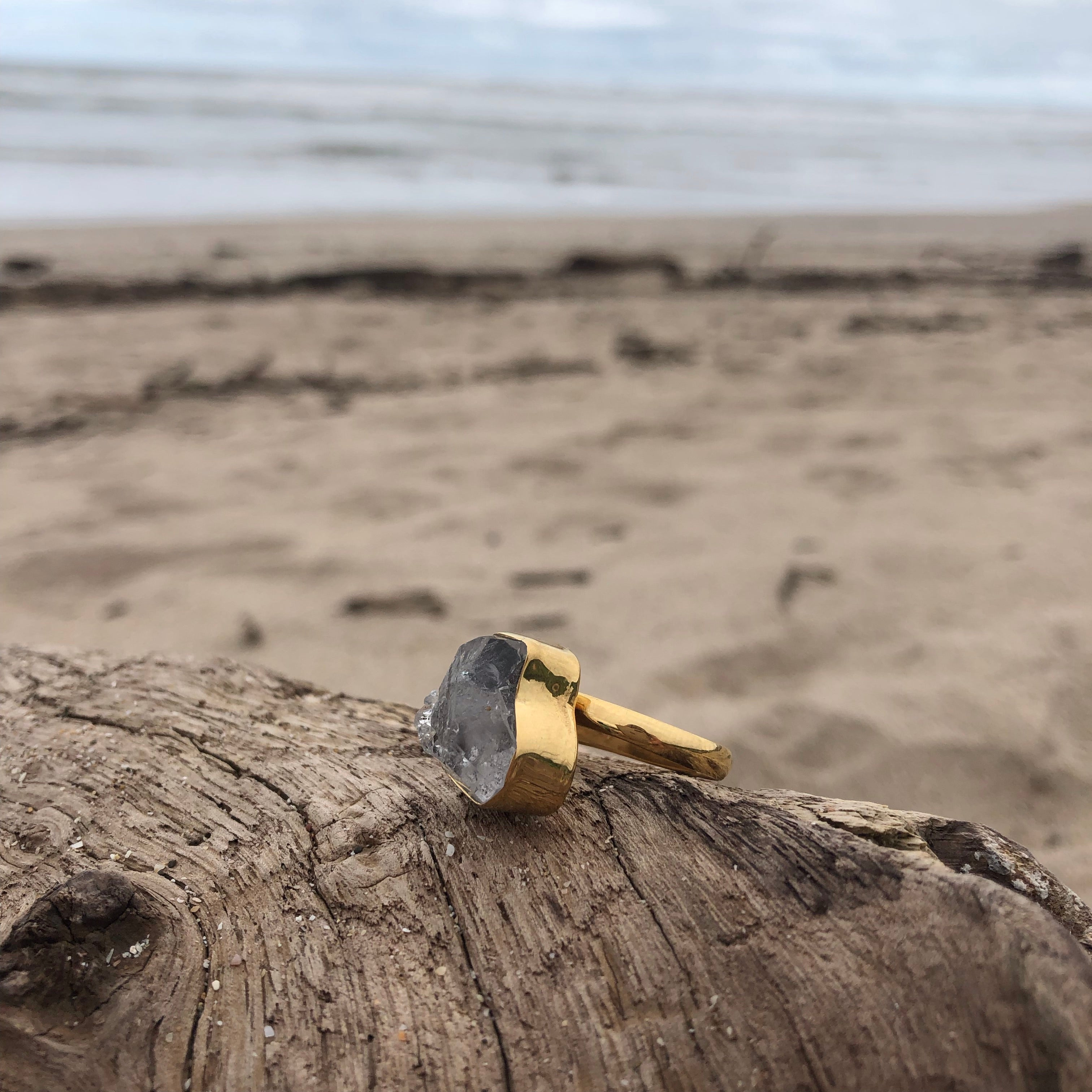 Herkimer Diamond Bronze Ring-Jenstones Jewelry