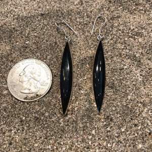 Black Shaft Onyx Earrings-Jenstones Jewelry
