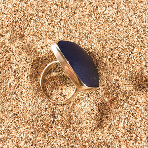 Ring Sterling and Cobalt Blue Seaglass Large-Jenstones Jewelry