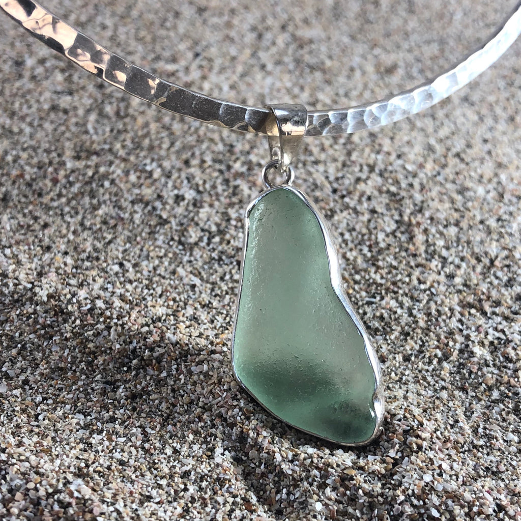 Pendant Sea Foam Green Seaglass-Jenstones Jewelry