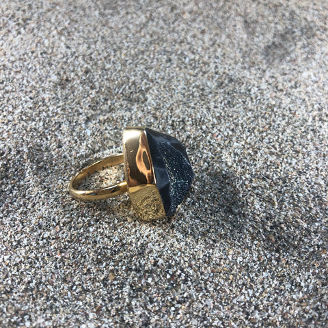 Ring Druzy Black Agate Bronze