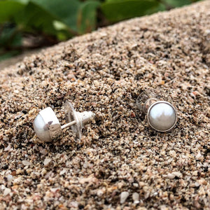 White Fresh Water Pearl Post Earrings-Jenstones Jewelry