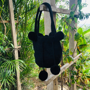 Mochila Black Small Pom Pom-Jenstones Jewelry