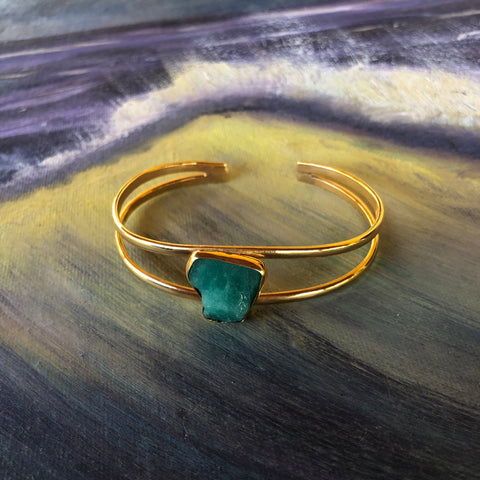 Emerald Cuff, Gold Plated Bronze