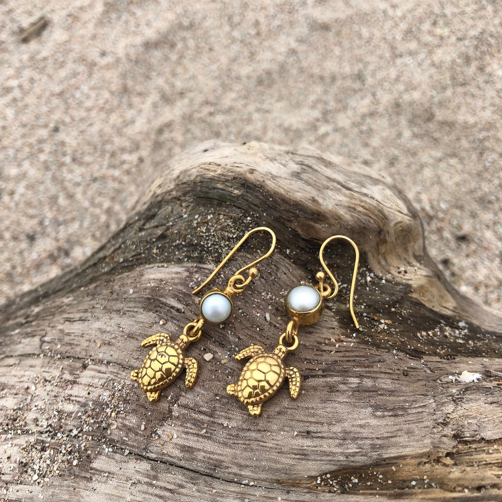 Tortuga and Pearl Dangle Bronze Earrings-Jenstones Jewelry