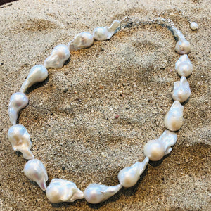 Pearl Necklace Baroque White Large-Jenstones Jewelry