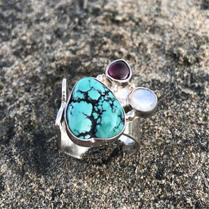 Turquoise, Garnet, Moonstone Sterling Ring-Jenstones Jewelry