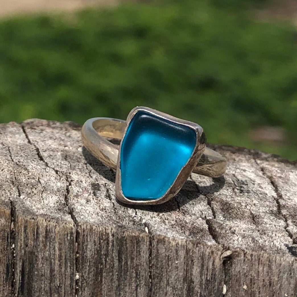 Ring Sterling and Aqua Blue Seaglass Free Form-Jenstones Jewelry