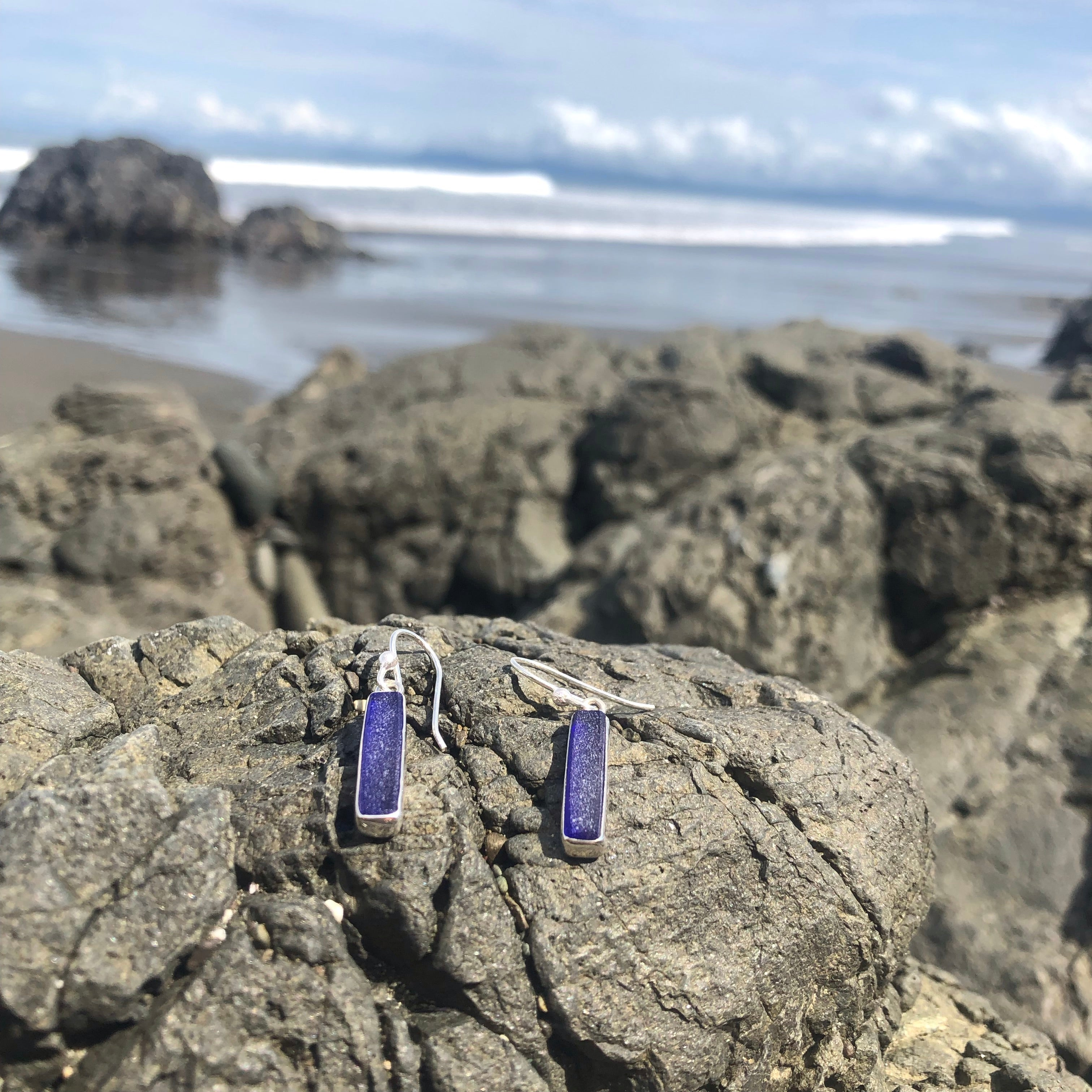 Sea Glass Dangle Earrings Blue Rectangles-Jenstones Jewelry
