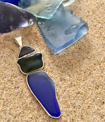 Pendant Sterling Cobalt Blue, Dark Green and Brown Sea Glass Pendant