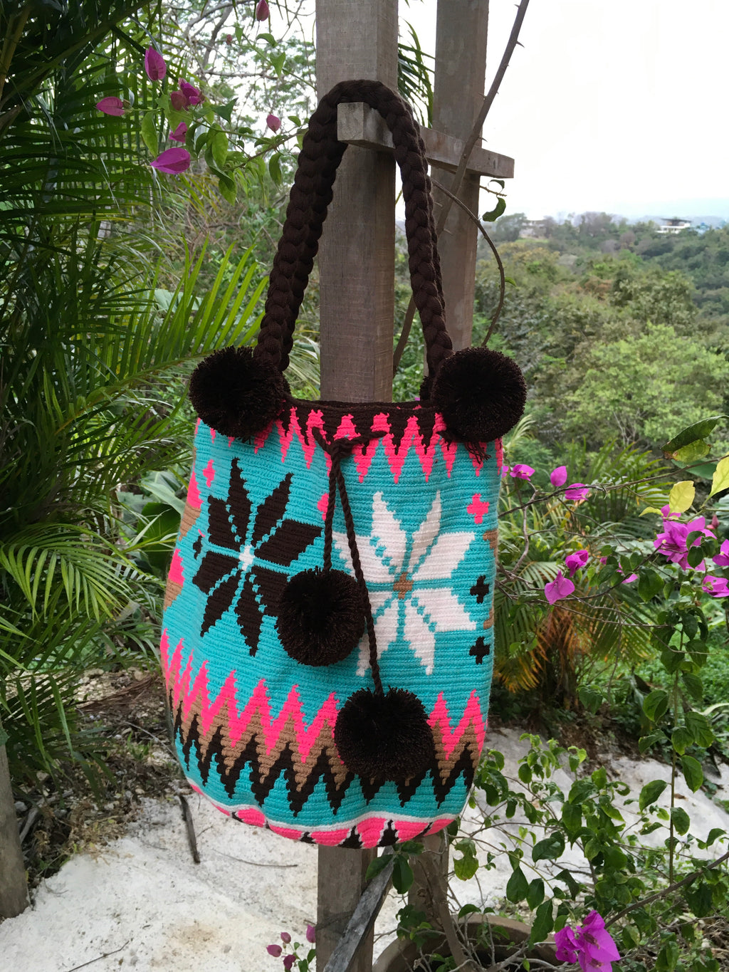 Mochila Turquoise Flower Design Large Pom Pom Braid-Jenstones Jewelry