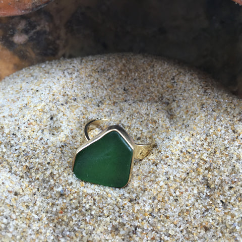 Bronze Sea Glass Ring Green