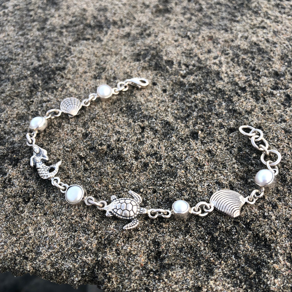 Mermaid, Turtle, and Pearl Silver Link Bracelet-Jenstones Jewelry
