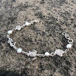 Load image into Gallery viewer, Mermaid, Turtle, and Pearl Silver Link Bracelet-Jenstones Jewelry