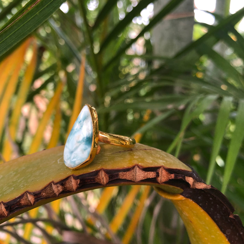 Larimar Ring GP Bronze Tear-Jenstones Jewelry