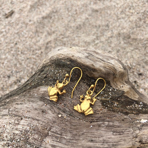 Bronze Mini Frog Dangle Earrings-Jenstones Jewelry