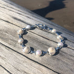 Load image into Gallery viewer, Pearlized Shell and Pearl Link Bracelet-Jenstones Jewelry