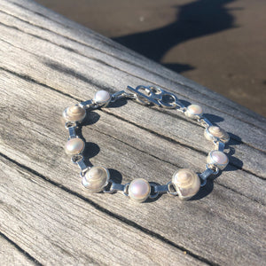 Pearlized Shell and Pearl Link Bracelet-Jenstones Jewelry