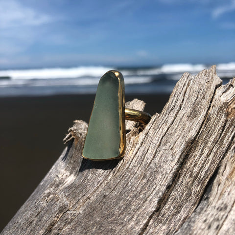 Bronze Sea Glass Ring Sea Green