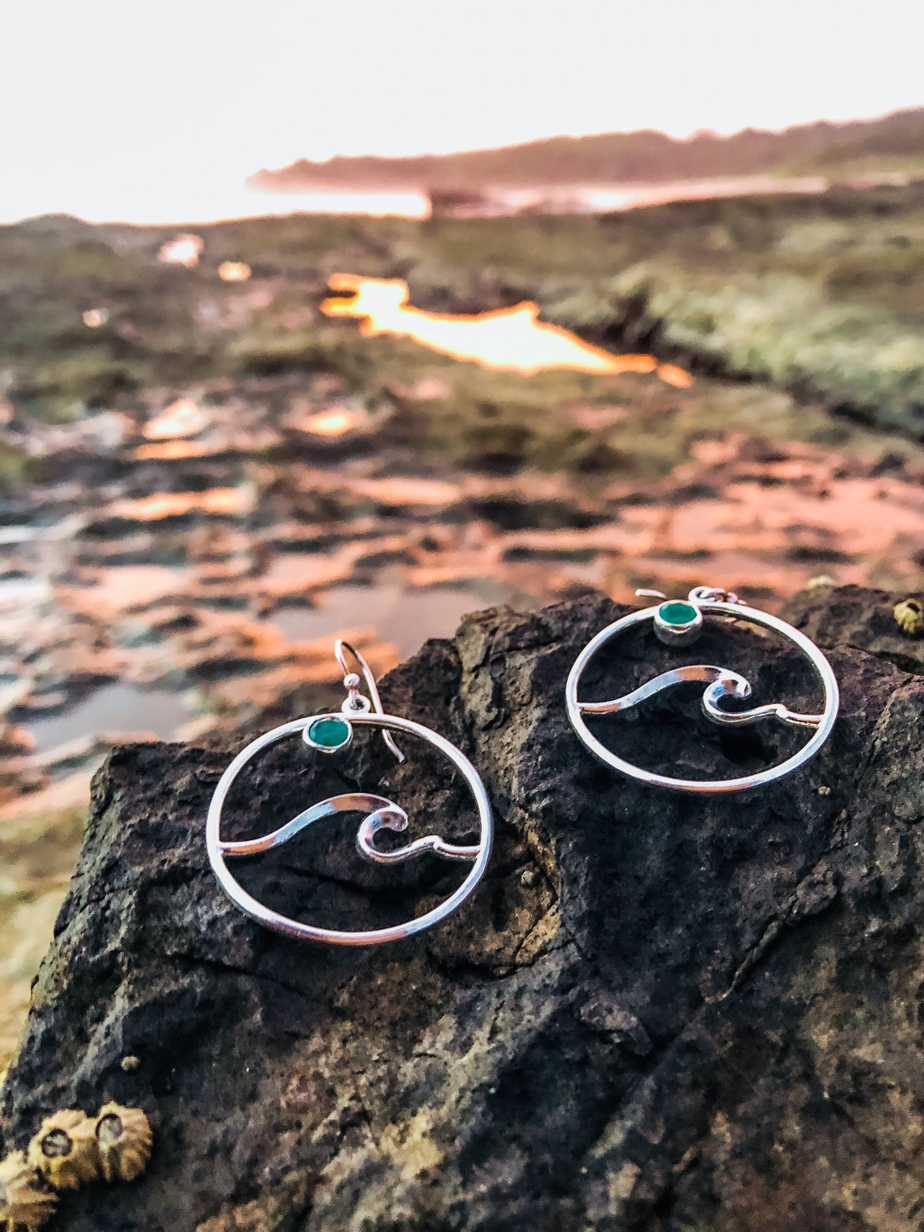 Emerald Wave Earrings-Jenstones Jewelry