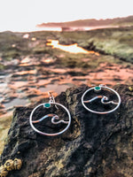 Load image into Gallery viewer, Emerald Wave Earrings-Jenstones Jewelry