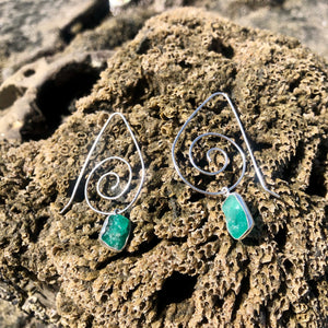 Emerald Swirl Earrings-Jenstones Jewelry