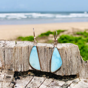 Larimar Triangle Earrings-Jenstones Jewelry