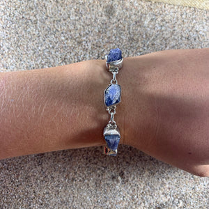 Link Bracelet Raw Tanzanite-Jenstones Jewelry