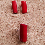 Load image into Gallery viewer, Post Earrings Red Coral Rectangular-Jenstones Jewelry