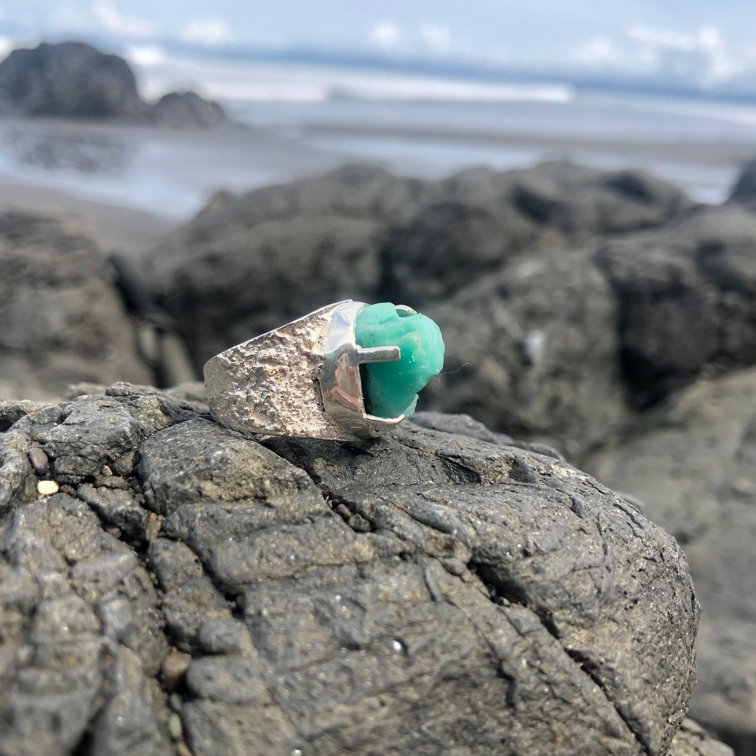Emerald Ring Raw Repousse' Prong Setting 8.5-Jenstones Jewelry