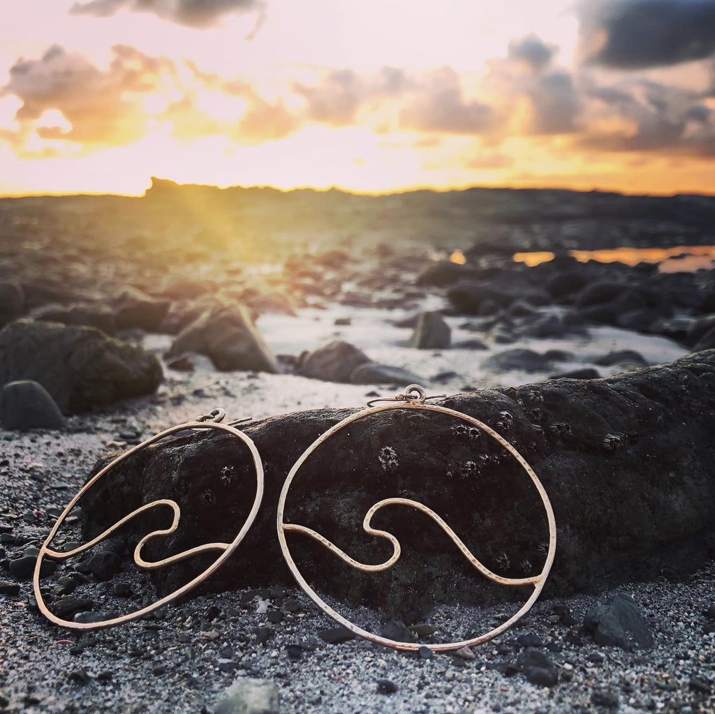 Wave Hoops GP over Bronze Large Curvy-Jenstones Jewelry