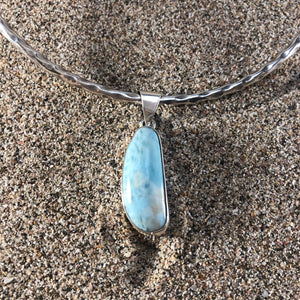 Pendant Larimar Long Oval-Jenstones Jewelry
