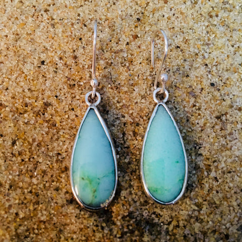 Chrysoprase Drop Dangle Earrings Sterling