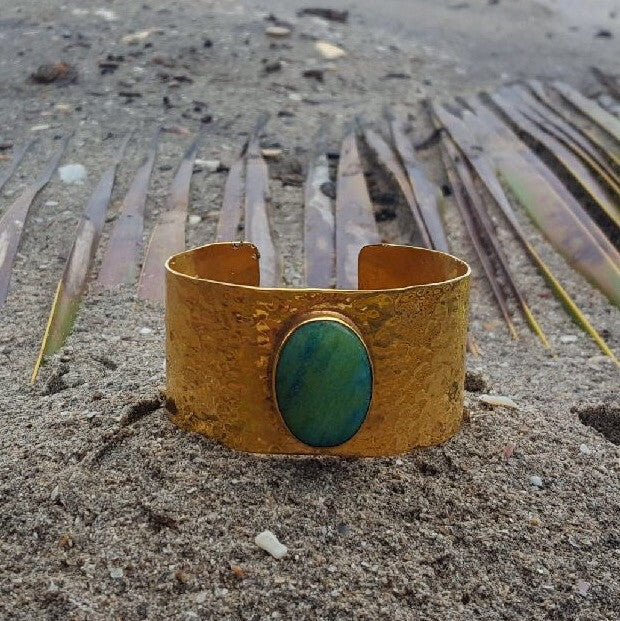 Cuff Hammered Bronze with Polished Amazonite