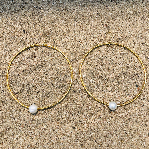 Hammered Bangle Earrings w/ Pearl Bronze GP